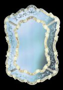 Mirror Glass Of Murano With Gold Cert 24 Made And Engraved By Hand In Italia