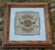 Authentic Native American Navajo Framed Sandpainting Daniel Smith Sand Painting