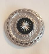Vintage Signed Sarah Coventry Silvertone Brooch Shield Circle Statement