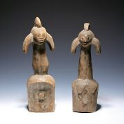 Pair Of African Carved Wood Fertility Figures - 20th. C.