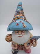 9.5 Wooden Russian Dwarf  Father Frost, Ded Moroz Hand Carved Christmas