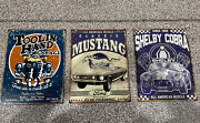 Classic Mustang Distressed Retro Vintage Home Decor Garage Bar Tin Sign Lot Of 3