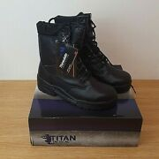 Titan Tactical Army/combat Boots New In Box Size Uk 6 Black Leather
