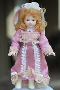 Miniature Bisque Dollhouse Doll 3.75 Joined Arms Legs Painted Boots Pink Dress