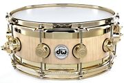 Dw Collectors Edge Snare Drum 14x6 Natural Satin Oil W/ Gold Hw