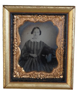 Antique 19th Century Photo Of Lady In Dress Clothing In The Frame