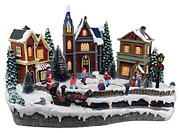 Skating Christmas Village Animated Pre-lit Musical Winter Snow Village With 4 To