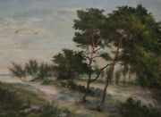 Painting Signed Riverside Trees