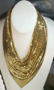 Vintage Whiting And Davis Signed Gold Tone Mesh Bib Necklace New Nwt