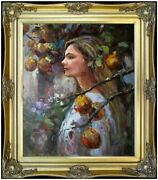 Framed Hand Painted Oil Painting Young Lady Under A Pear Tree 20x24in