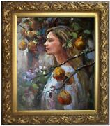 Framed Quality Oil Painting Young Lady Under Pear Tree, 20x24in