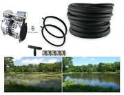 Lake Fish Pond Aerator System W/200and039 Wtd Hose 2 Ring Diffusers New Pump 2yr Wty