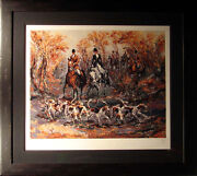 Mark King Autumn Hunt Framed Horses And Dogs Submit Best Offer Hand Signed Art