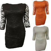 Ladies Plus Size Floral Lace Over 3/4 Sleeve Going Out Dress 16-26 New