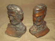 Pair Abraham Lincoln Bronze Plated Cast Iron Bookends Book Ends