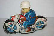Tin Motorcycle Toy Haji Police Cycle No.7 Made In Japan In 1960's