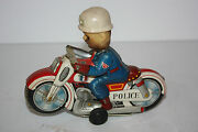 Tin Motorcycle Toys Haji Police P.d. Cycle Made In Japan In 1960and039s