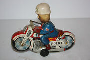 Tin Motorcycle Toys Haji Police P.d. Cycle Made In Japan In 1960's