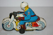 Tin Motorcycle Toy Police Made In Japan In 1950's