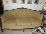 Antique Couch And Chair Carved Wood Pre1940s Excellent Cond Coil Spring Cushions