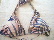 Victoriaand039s Secret Bikini Halter With Gold Tone Beads Top Only Frosted Fern 0sz3