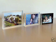 Contemporary Acrylic Or Lucite Magnetic Picture Frame