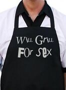 Will Grill For Sex Black Bbq Apron, Aprons With Funny Sayings, Novelty Bibs