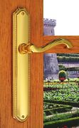 Fpl Chateau Passage Door Levers And Plates Handle Set Distressed Brass