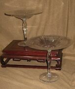 Pair Antique Cut And Engraved Glass Compotes Probably Pairpoint