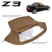 New Bmw Z3 1996-2002 Convertible Soft Top Replacement And Plastic Window Tan Twill