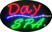 Us Seller Animated Day Spa Led Sign Neon Lighted. Video Inside. 21x13-1/2