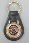 Gold Chrysler Wax Seal 4361 Leather Gold Tone Key Ring 1954 1955 1956 1957