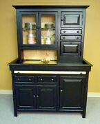 Large Pine Hoosier Cabinet, Usa Made Antique Reproduction