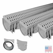 Source 1 Drainage Trench And Driveway Channel Drain With Grate - 3-pack