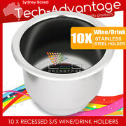 10 X Stainless Steel Boat/rv Twin Size Wine Bottle/cup/drink Holders And Drain