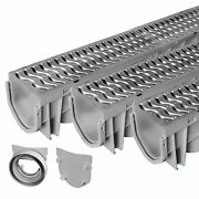 Source 1 Drainage Trench And Driveway Channel Drain With Steel Grate - 3-pack