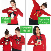Ladies Christmas Jumpers - All With Squeakers - 8-22 - Rudolph Robin Peguin