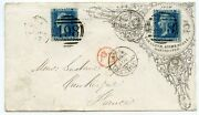 Superb 1863 Advertising Envelope With 2 X 1858 2d Blue Pl.9 Manchester To France