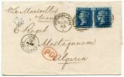 Scarce 1865 Cover With 2 X 1858 2d Blue Plate 9 - 4d Rate Birmingham To Algeria