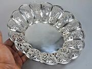 348 Gr Antique Open Work Chinese Export Silver Tray Dish Basket China 1900