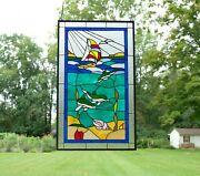 20.5 X 34 Dolphin Boat Seashore Beach Handcrafted Stained Glass Window Panel