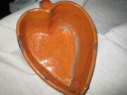Antique French Glazed Pottery - Mochaware - Rare Heart-shaped Mold - Alsace 19th