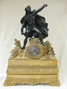 Antique French Bronze Gilt And Marble Mantle Clock Christopher Columbus