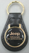 Vintage Jeep Grand Cherokee Gold Logo Black Leather 4314 Gold Tone Key Ring