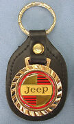 Vintage Classic Jeep Logo 5303 Royal Classic Gold Key Ring Black Leather Fob
