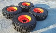 4 New 12x16.5 Skid Steer Tires And Rims For Bobcat-12-16.5 14 Ply-non Directional