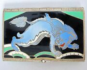 3.1 Rare Antique Art Deco Enameled Sterling Silver Compact With Chinese Foo Dog