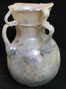 Ancient Roman Glass Bottle 100 B.c. - 200 A.d. Nice Iridescence And Decoration