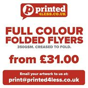 Folded Flyers 350gsm Creased Fold Leaflets Printed Full Colour Menus A3 A4 A5 A6