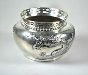 264 Grams Antique Chinese Export Solid Silver Dragon Bowl China Sing Fat 1900